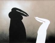 Schwarze und weiße Figur